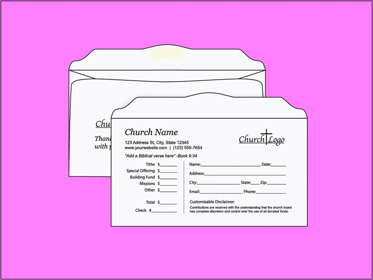 Personalized Tithe And Offering Envelopes