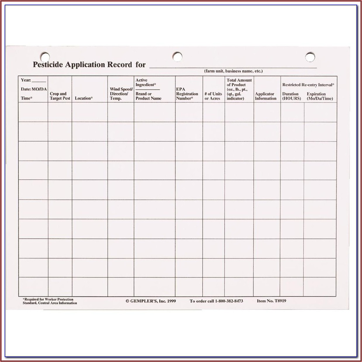 Pest Control Record Keeping Template