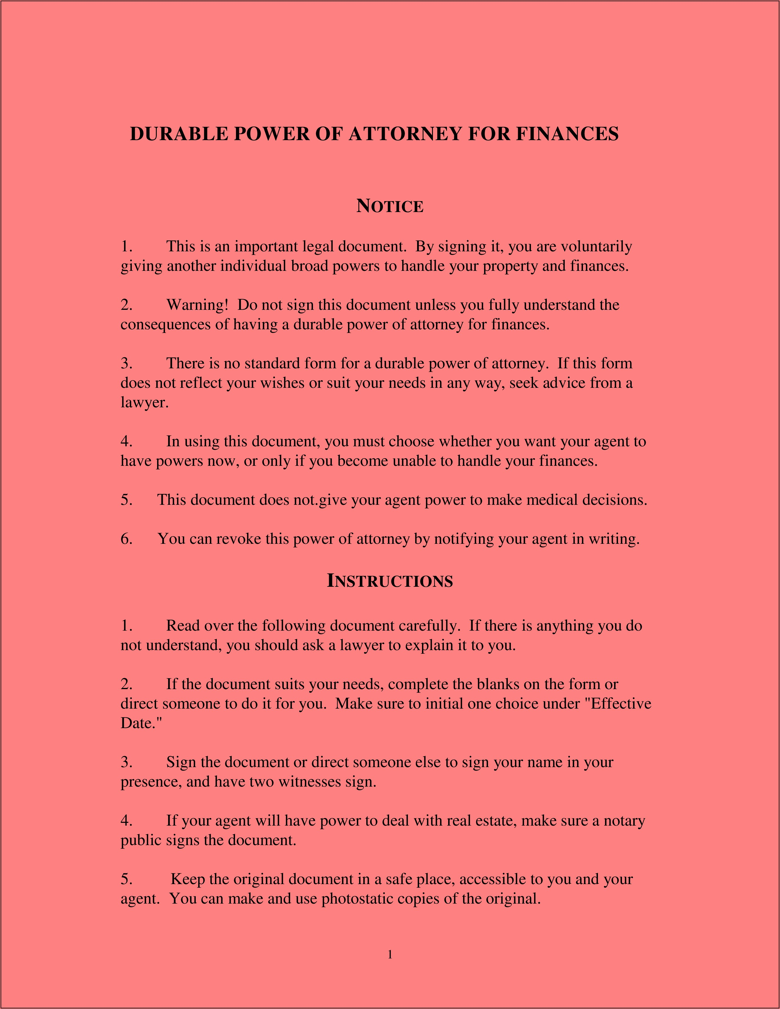 Power Of Attorney Durable Form