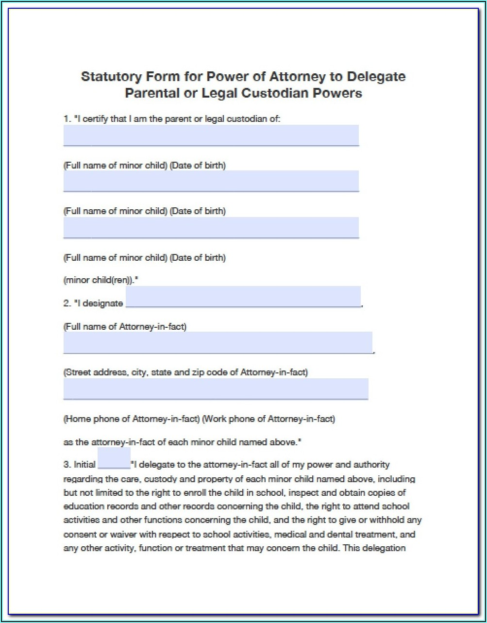 Power Of Attorney Form Nc For Minor Child