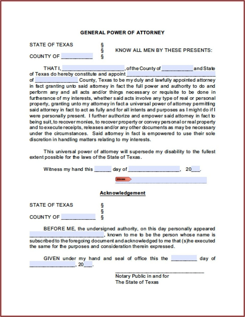 Power Of Attorney Form Texas For Medical