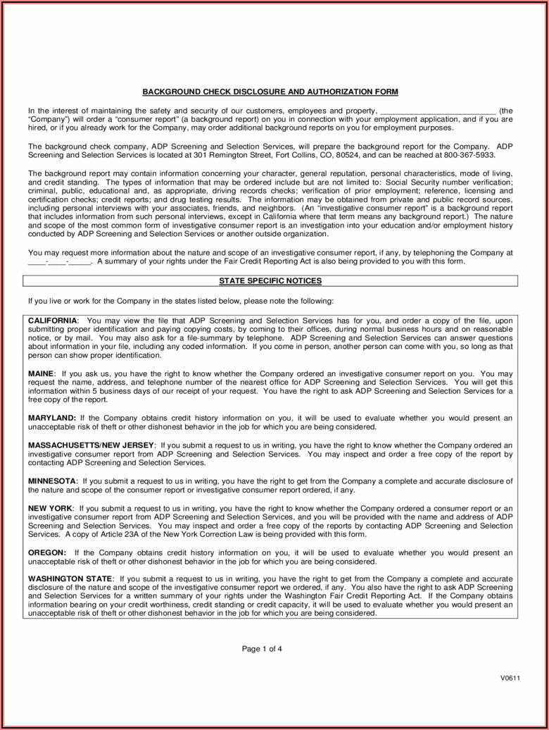 Pre Employment Background Check Authorization Form Michigan