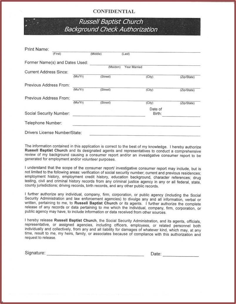 Pre Employment Background Check Authorization Form Singapore
