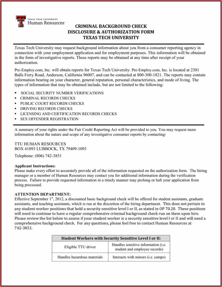 Pre Employment Background Check Authorization Form Texas