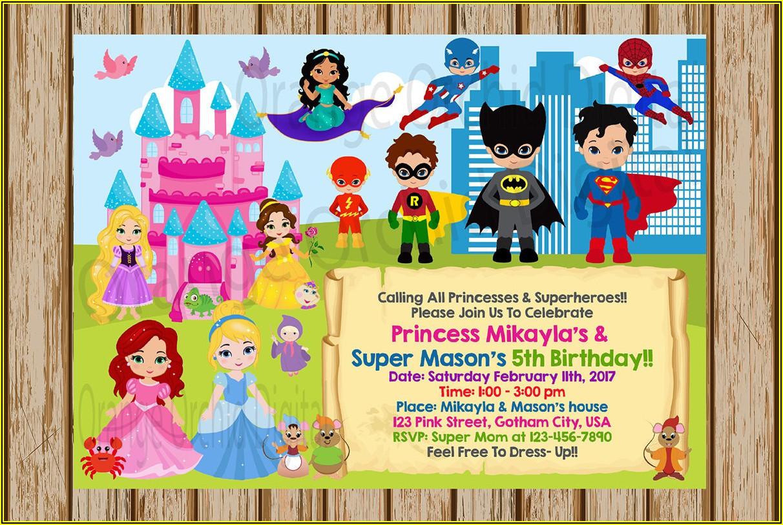 Princess And Superhero Party Invitation Template