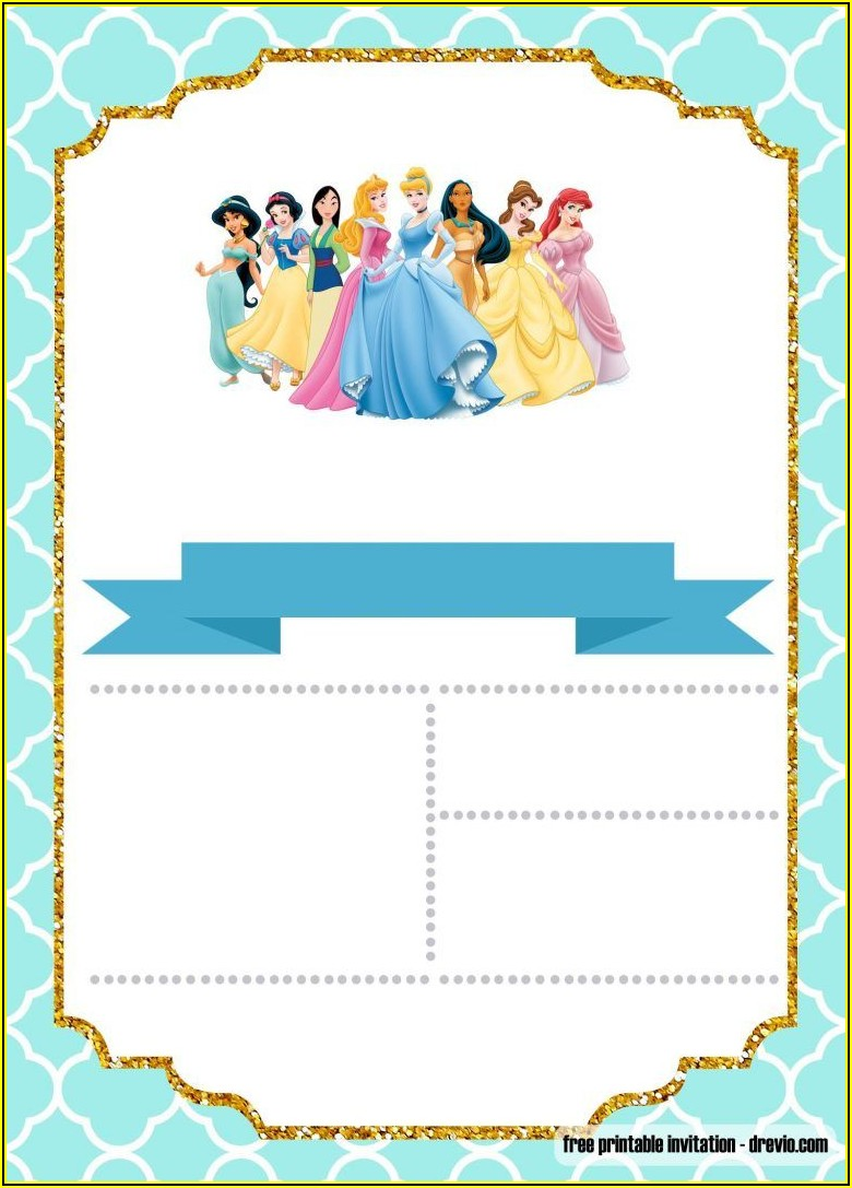 Princess Birthday Party Invitation Template Free