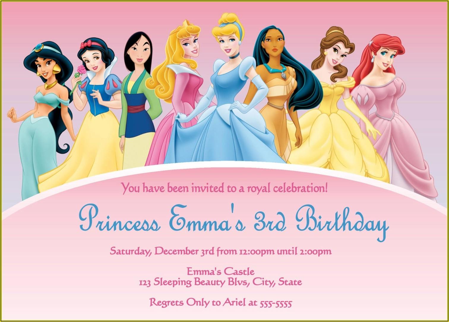 Princess Theme Party Invitation Template