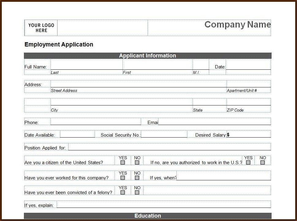 Printable Blank Job Application Form Word Document