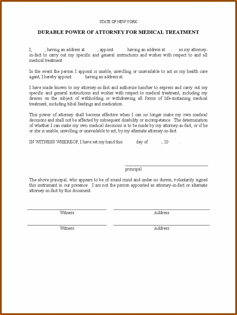 Printable Durable Power Of Attorney Form Ny