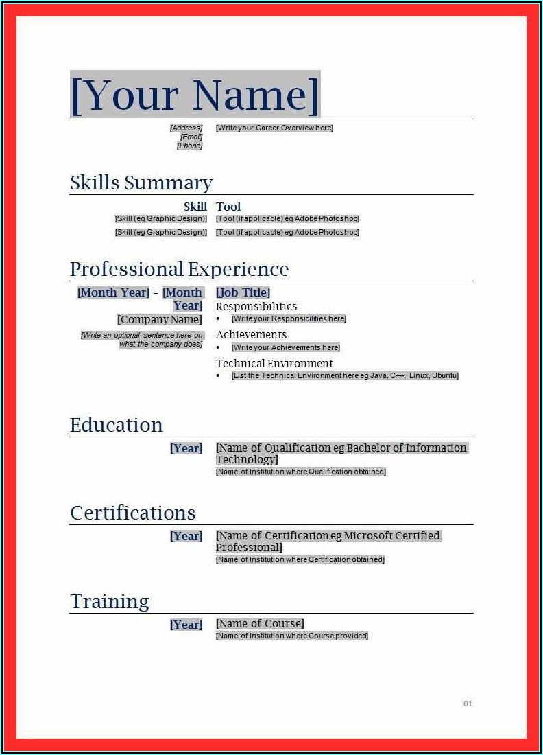 Printable Fill In Resume Form