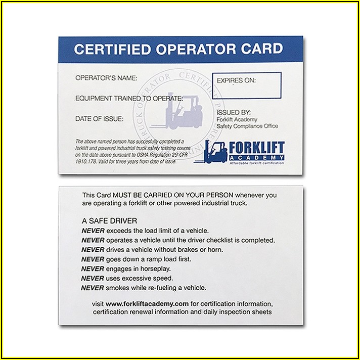 Printable Forklift Certification Card Template Free