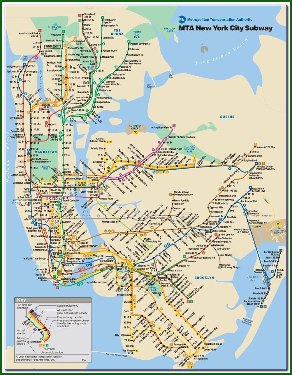 Printable Subway Map Of New York City