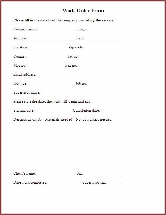 Printable Work Order Template Pdf