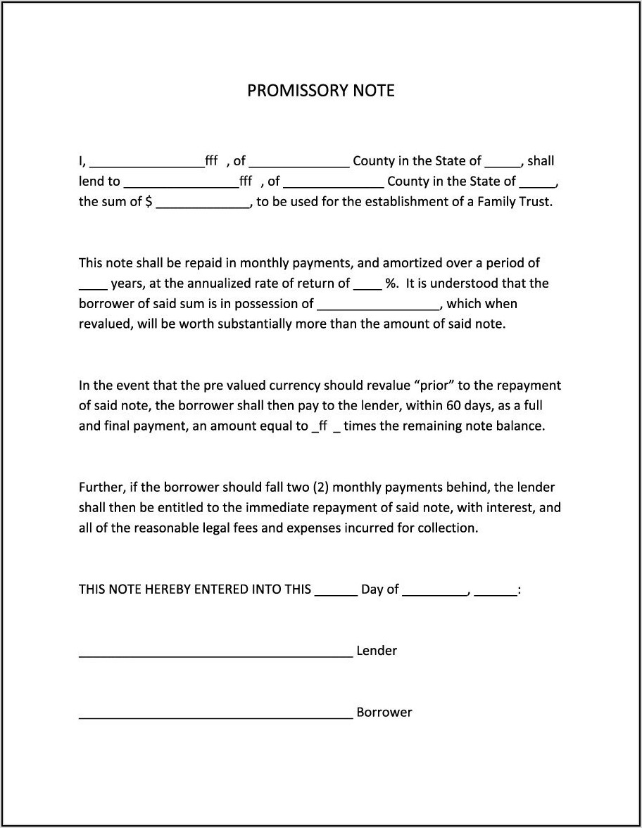 Promissory Note Format Free Download