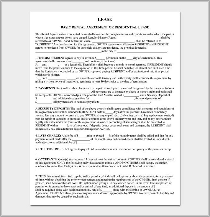 Property Lease Agreement Template Doc