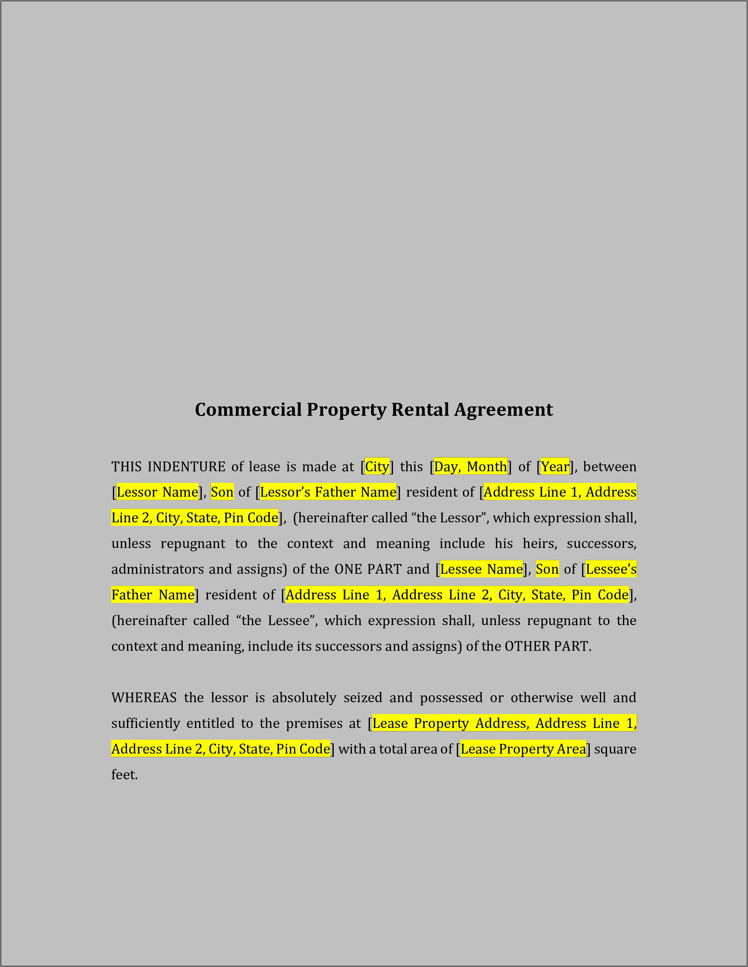 Property Lease Agreement Templates