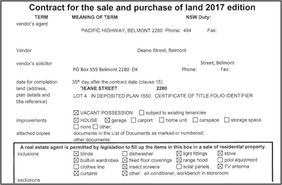 Property Sale Contract Template Nsw