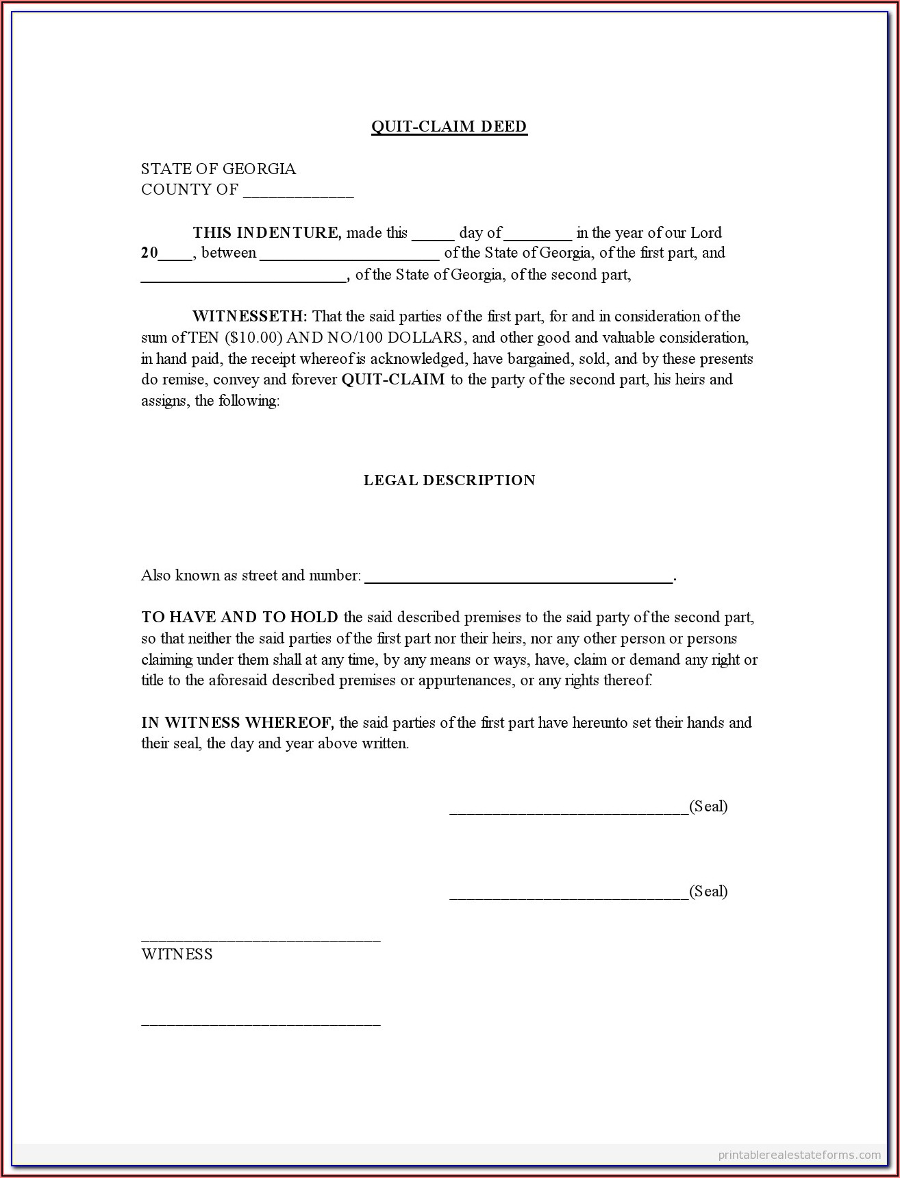 Quit Claim Deed Georgia Form