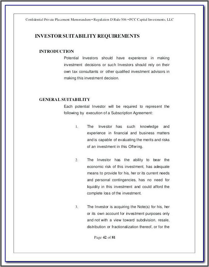 Real Estate Offering Memorandum Template Free
