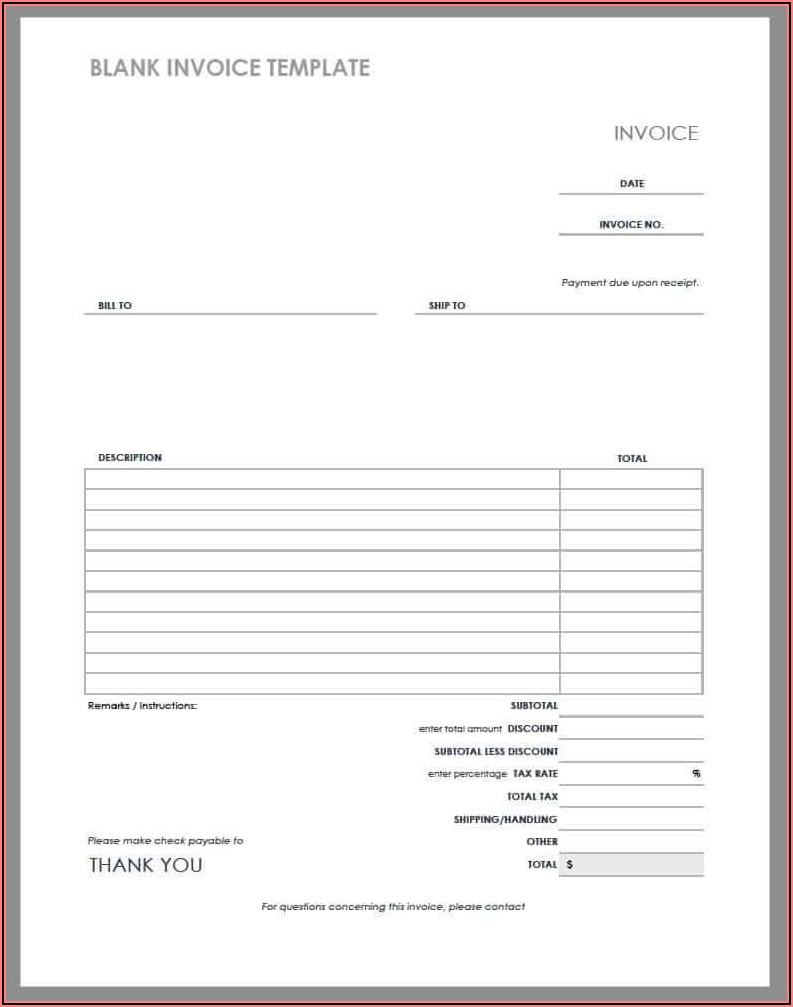 Rent Invoice Format Doc