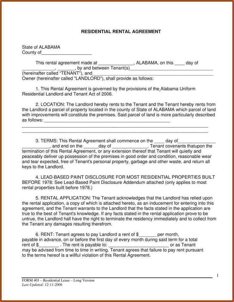 Rental Lease Agreement Form Florida