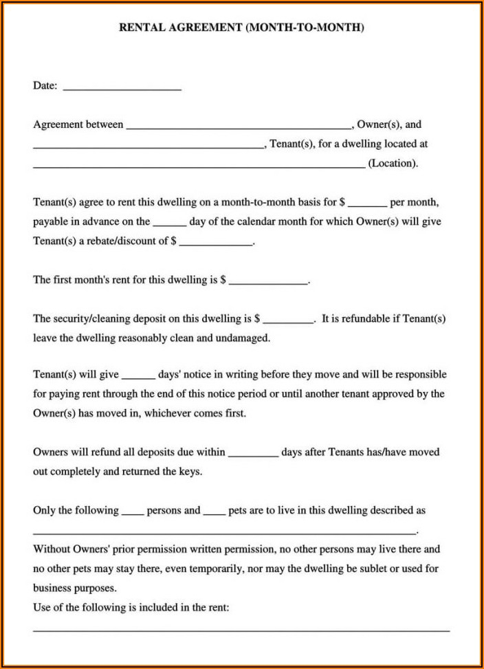 Rental Lease Agreement Sample Pdf