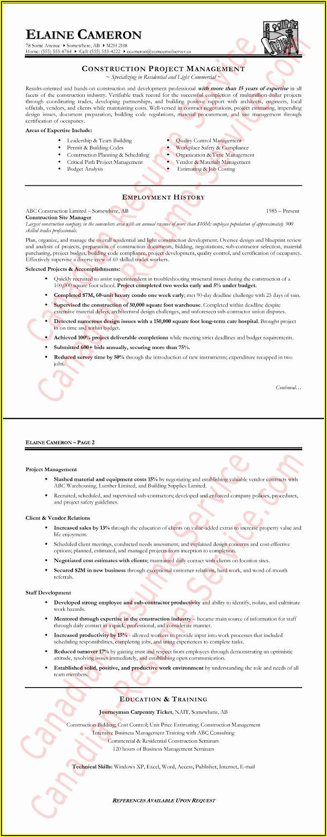 Resume Templates Construction Management