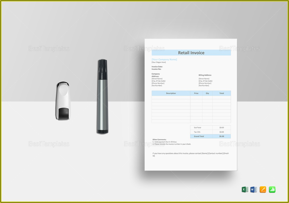 Retail Invoice Template In Word