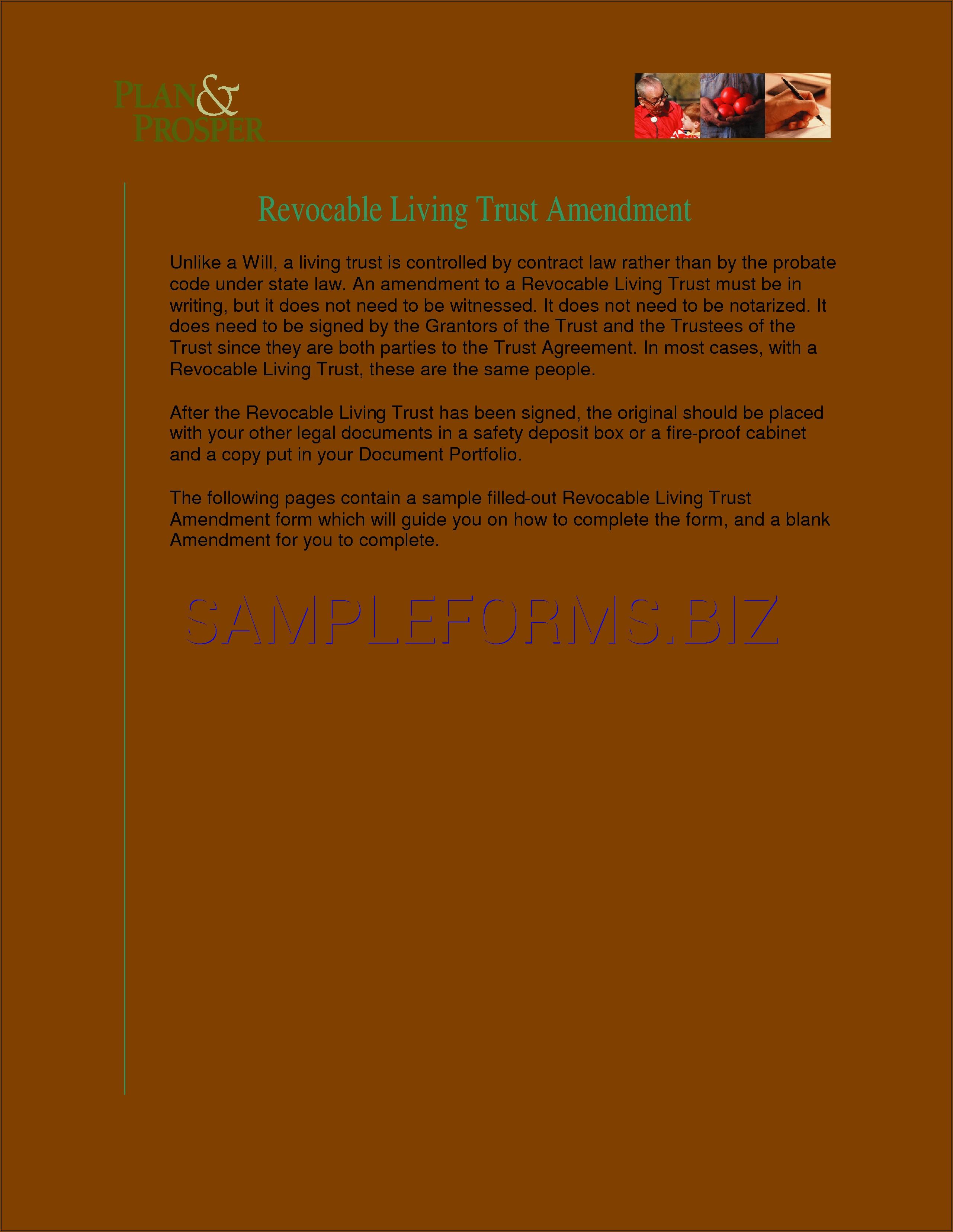 Revocable Living Trust Amendment Form Pdf