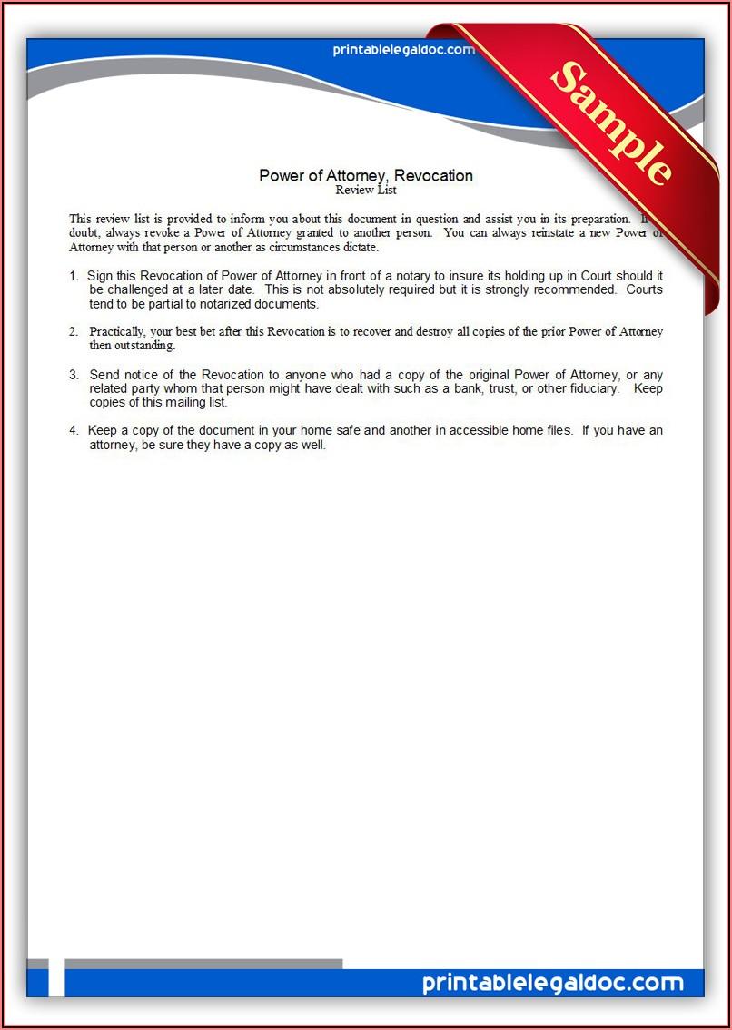 Revocation Power Of Attorney Form