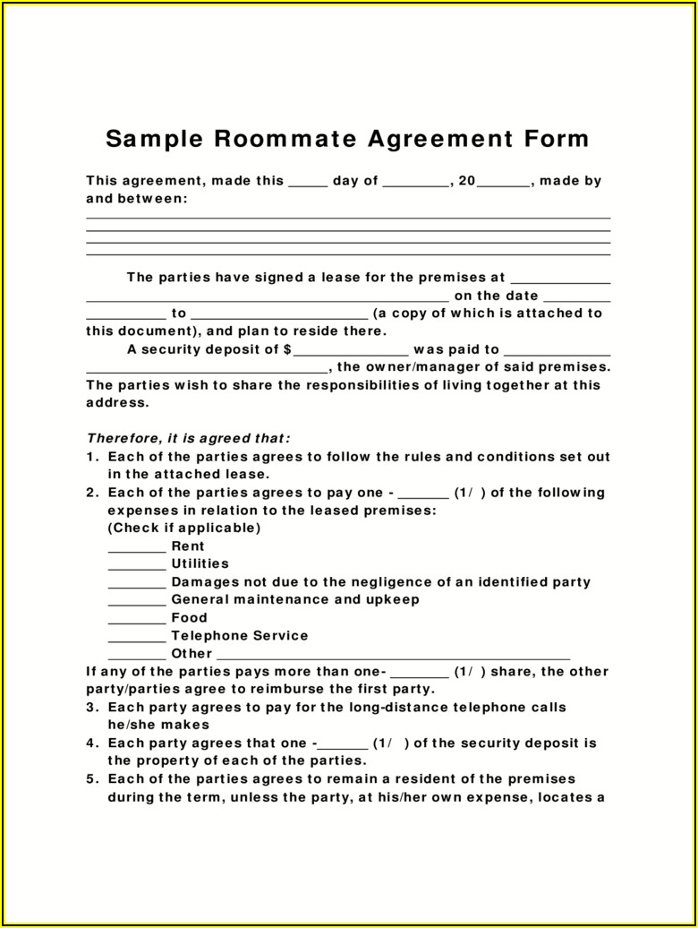 Roommate Agreement Form Free