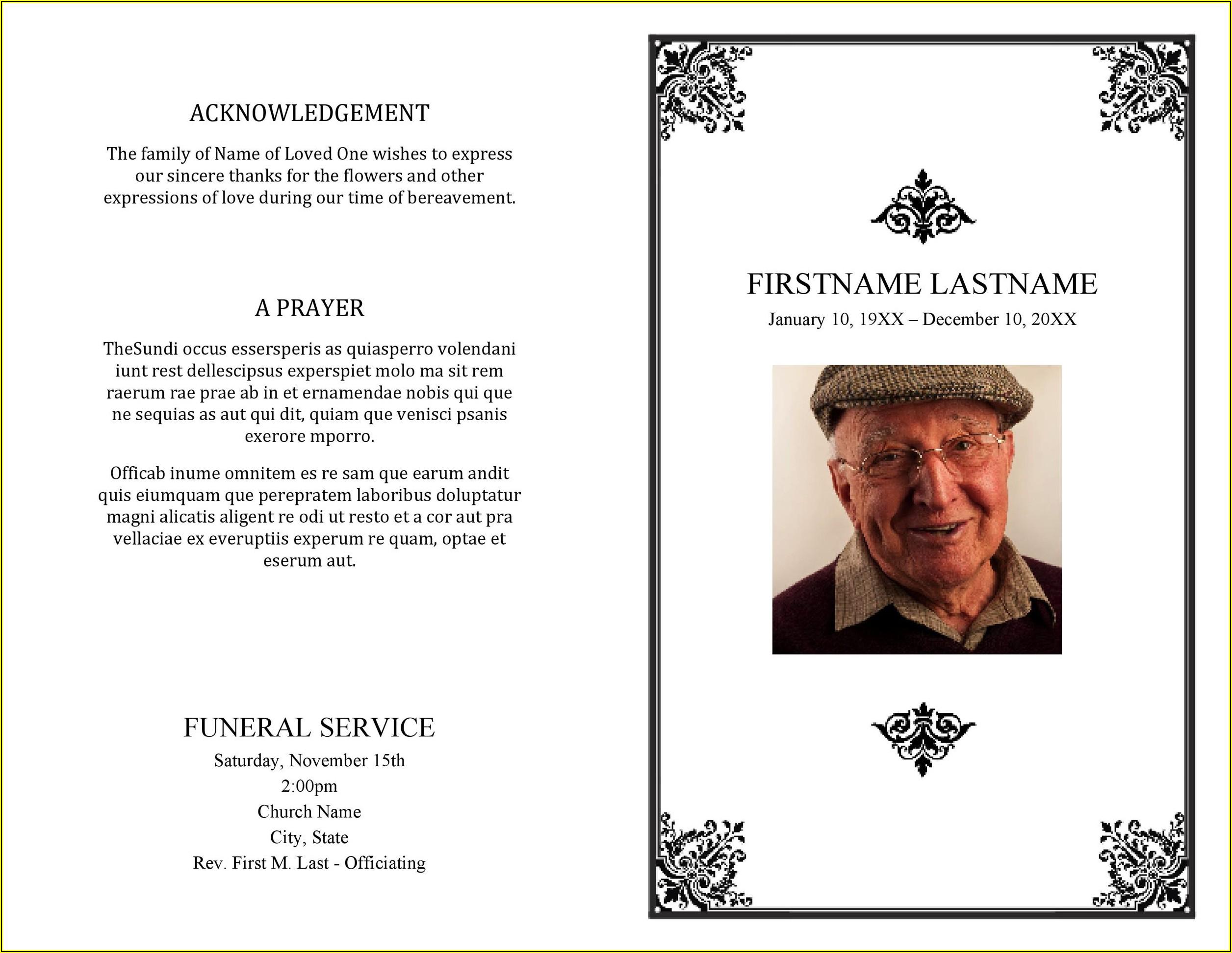 Sample Funeral Program Template