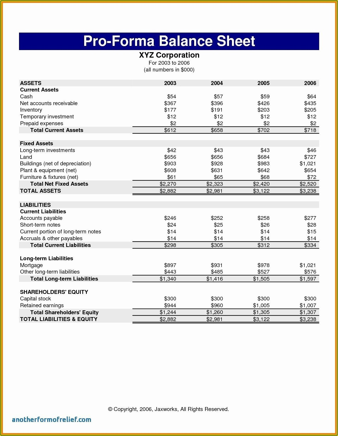 Sample Pro Forma Financial Statements Excel