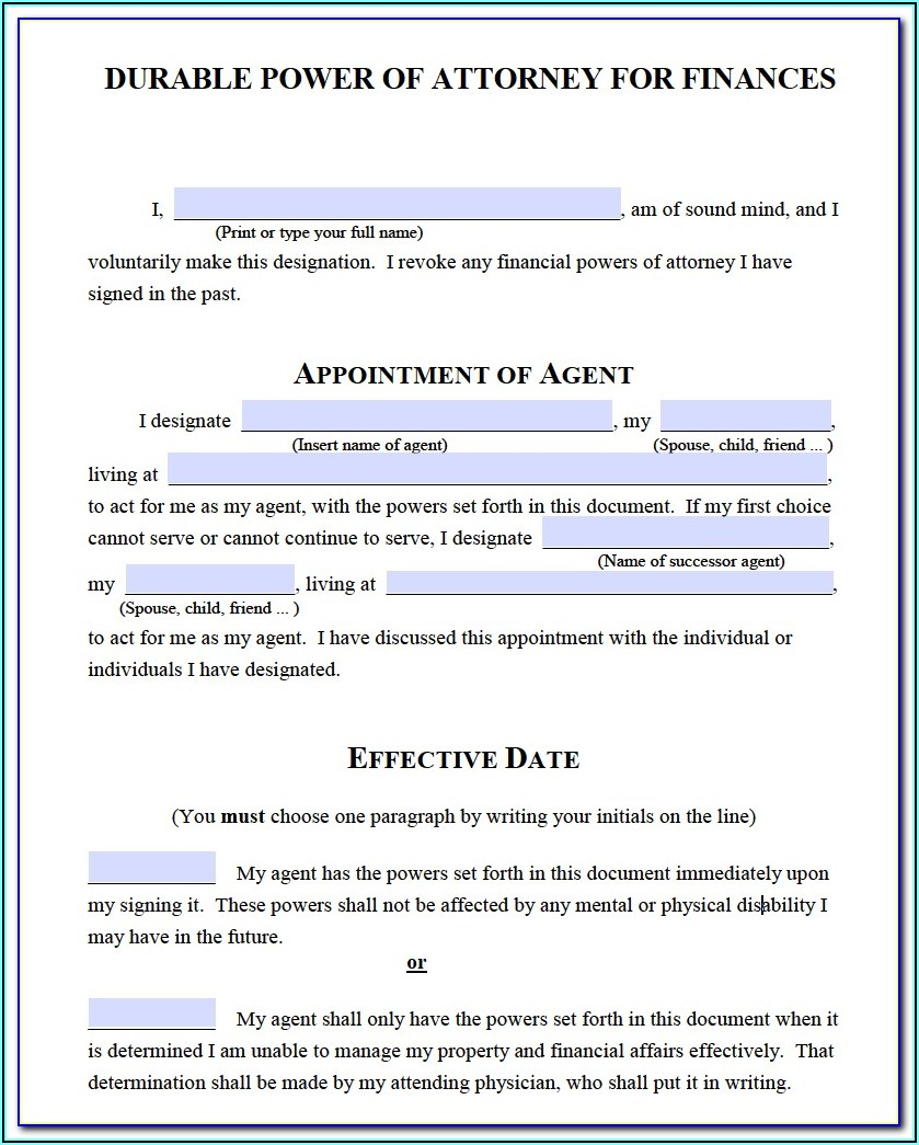 Sc Durable Financial Power Of Attorney Form