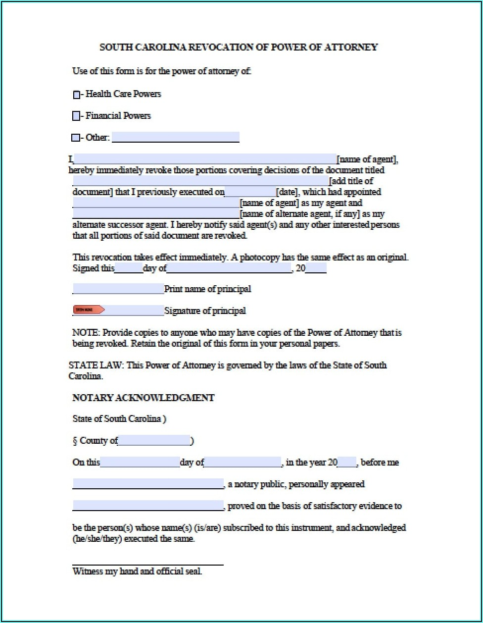 Sc General Durable Power Of Attorney Form