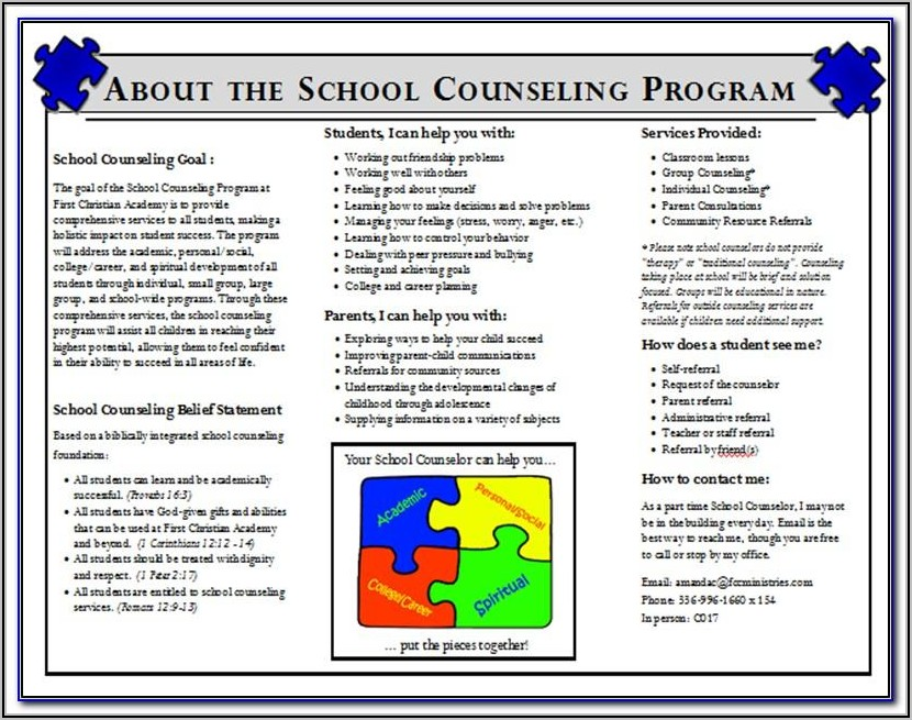 School Counseling Brochure Templates