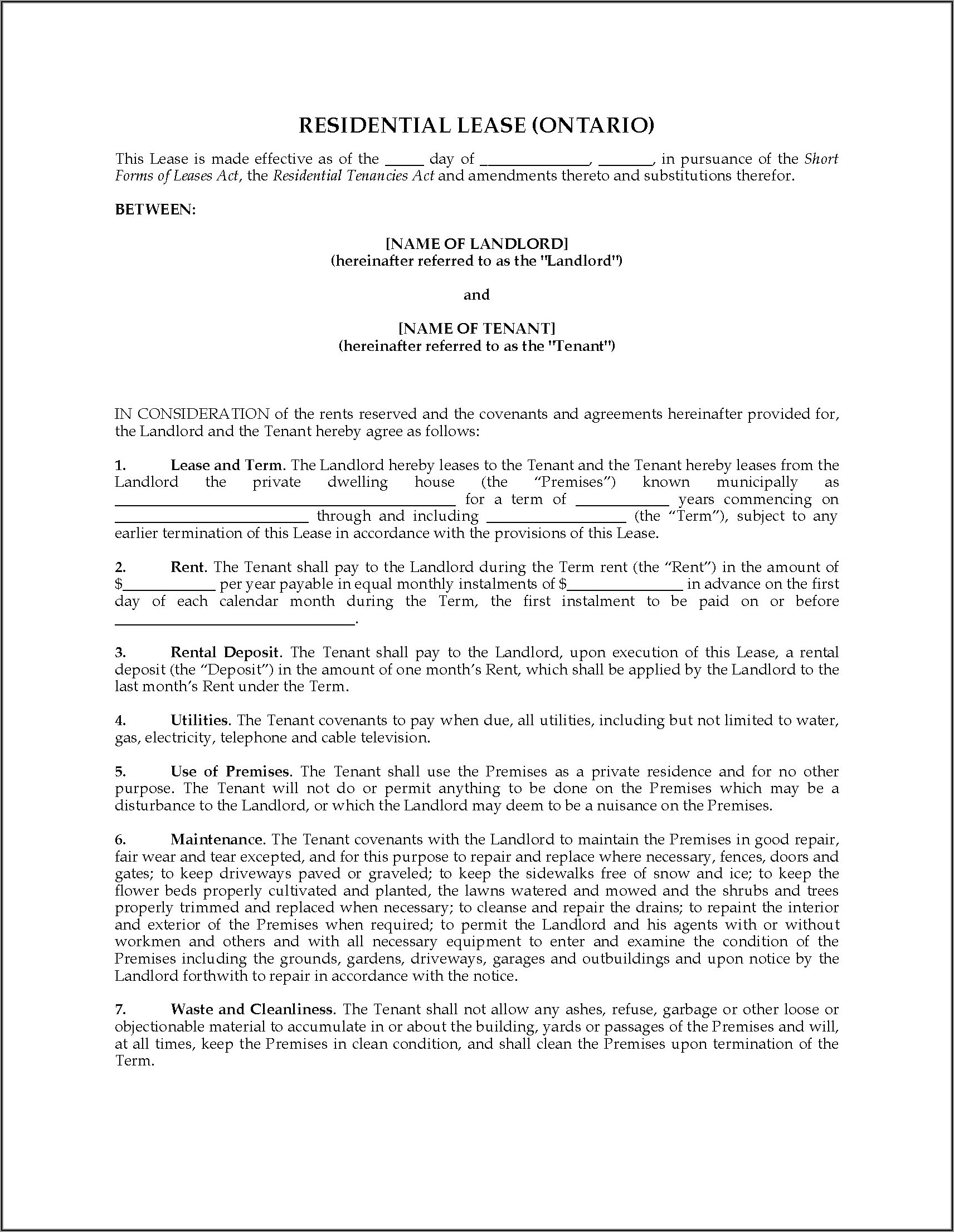 Short Term Rental Agreement Form Ontario