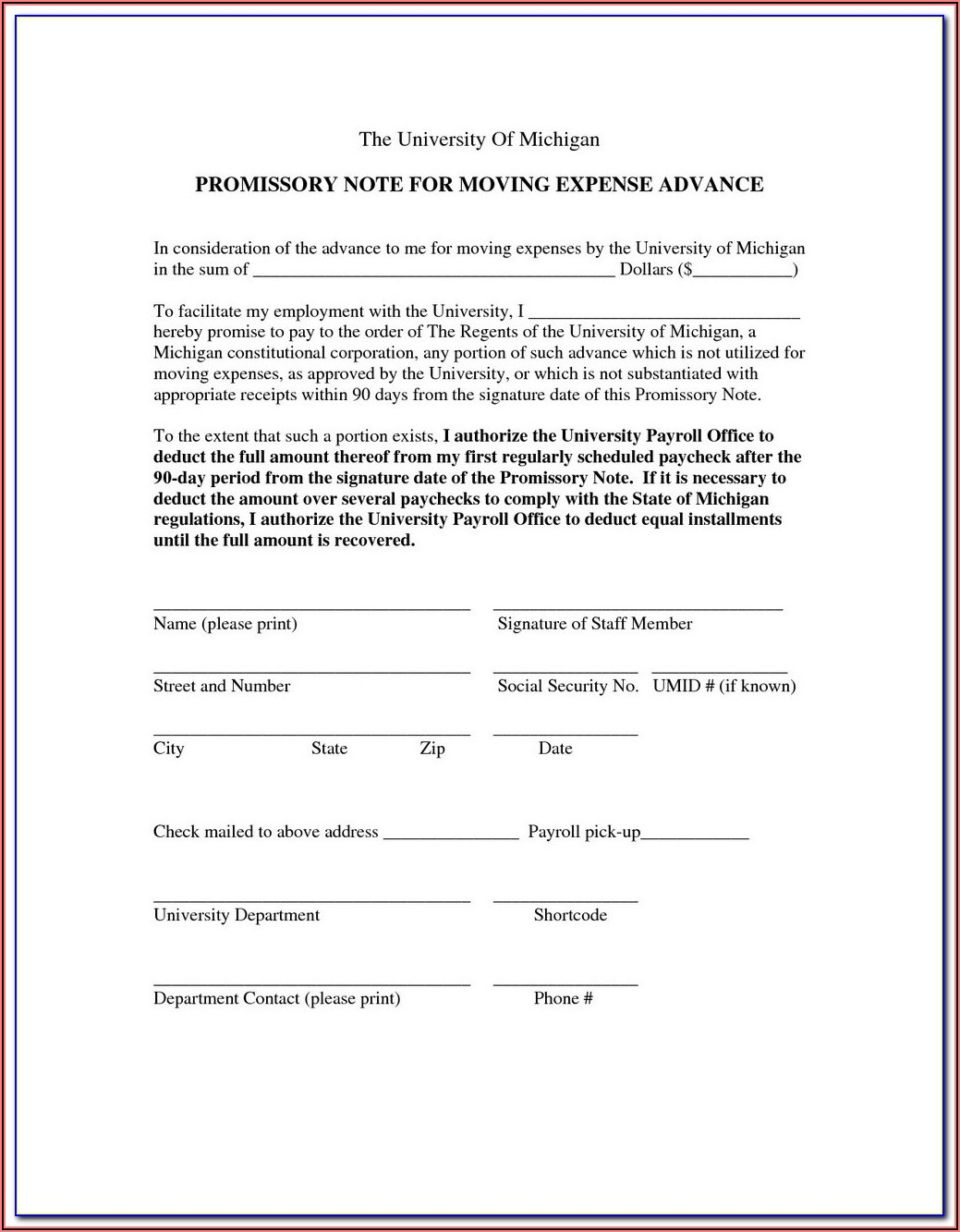 Simple Promissory Note Template Canada