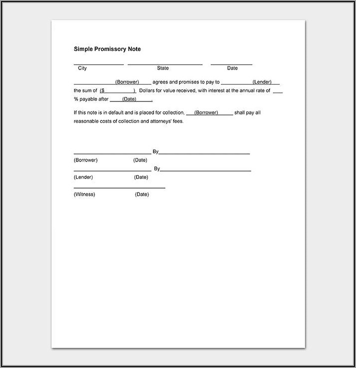 Simple Promissory Note Template Word
