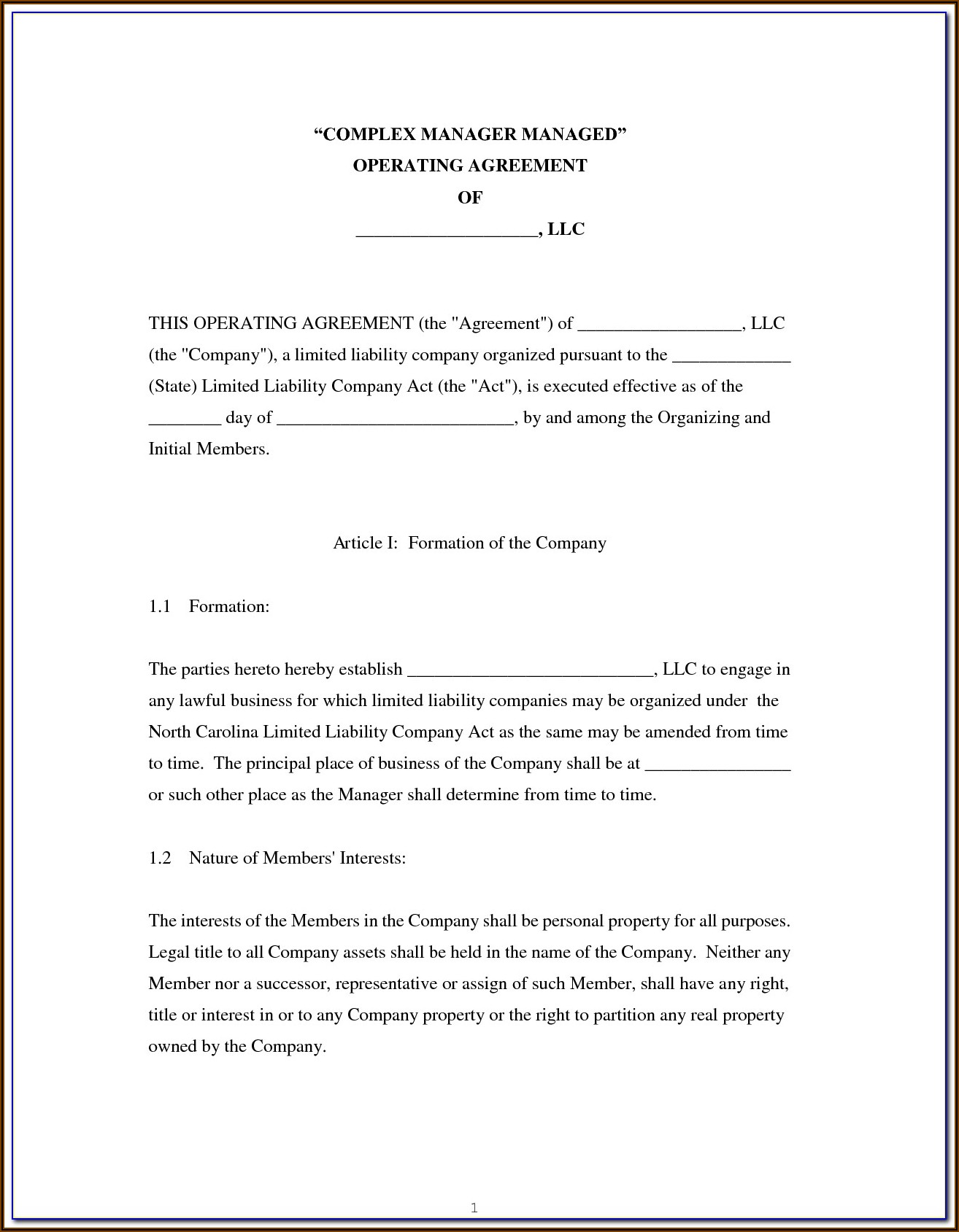 Single Member Llc Operating Agreement Short Form