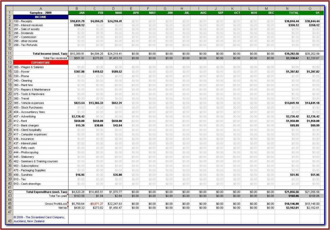 Small Business Accounting Forms Excel