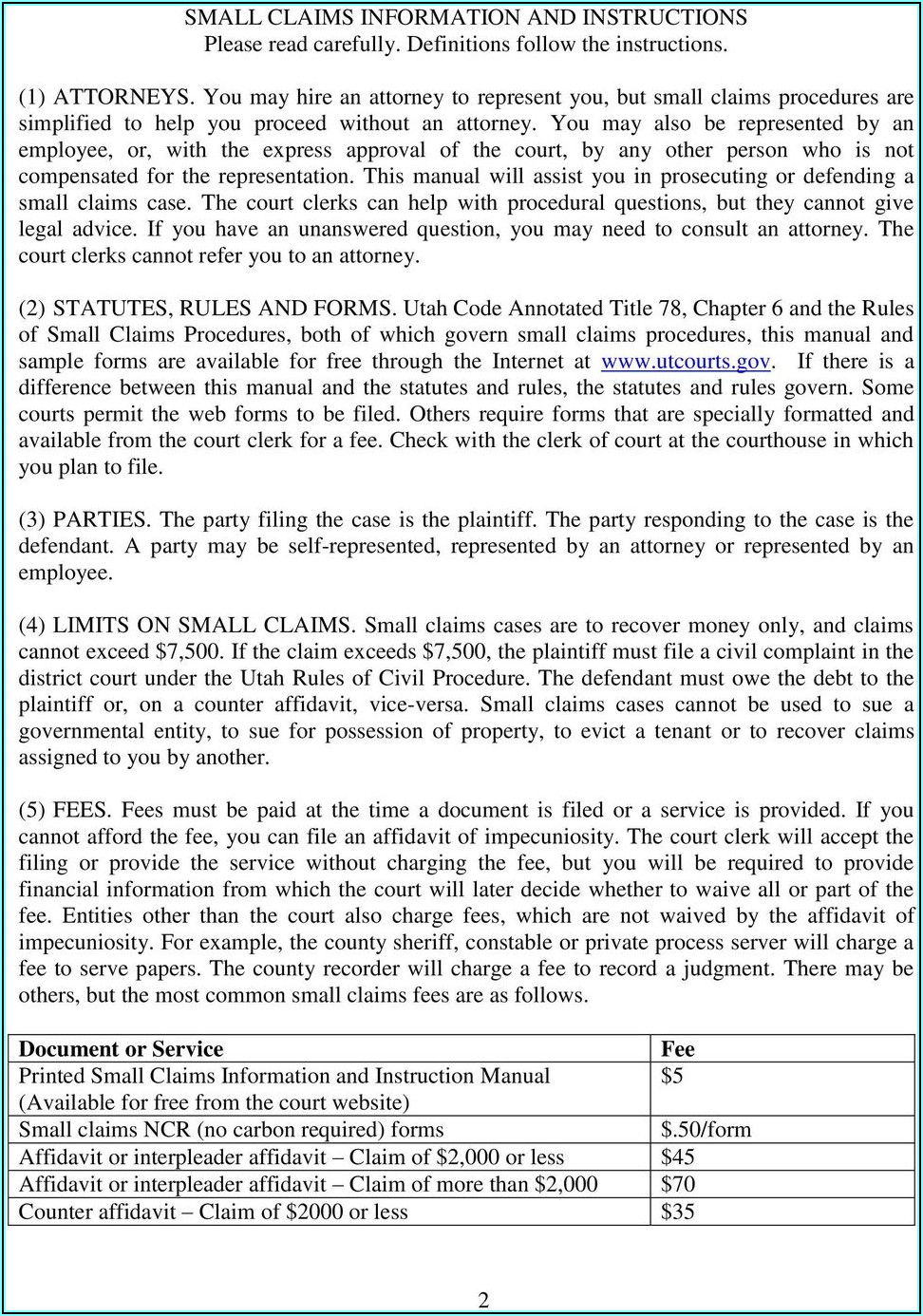 Small Claims Case Forms