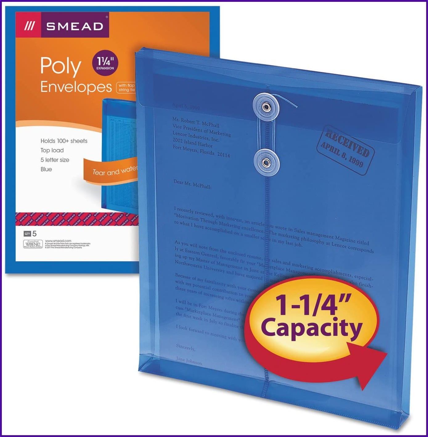 Smead Poly Envelopes With String Tie Closure