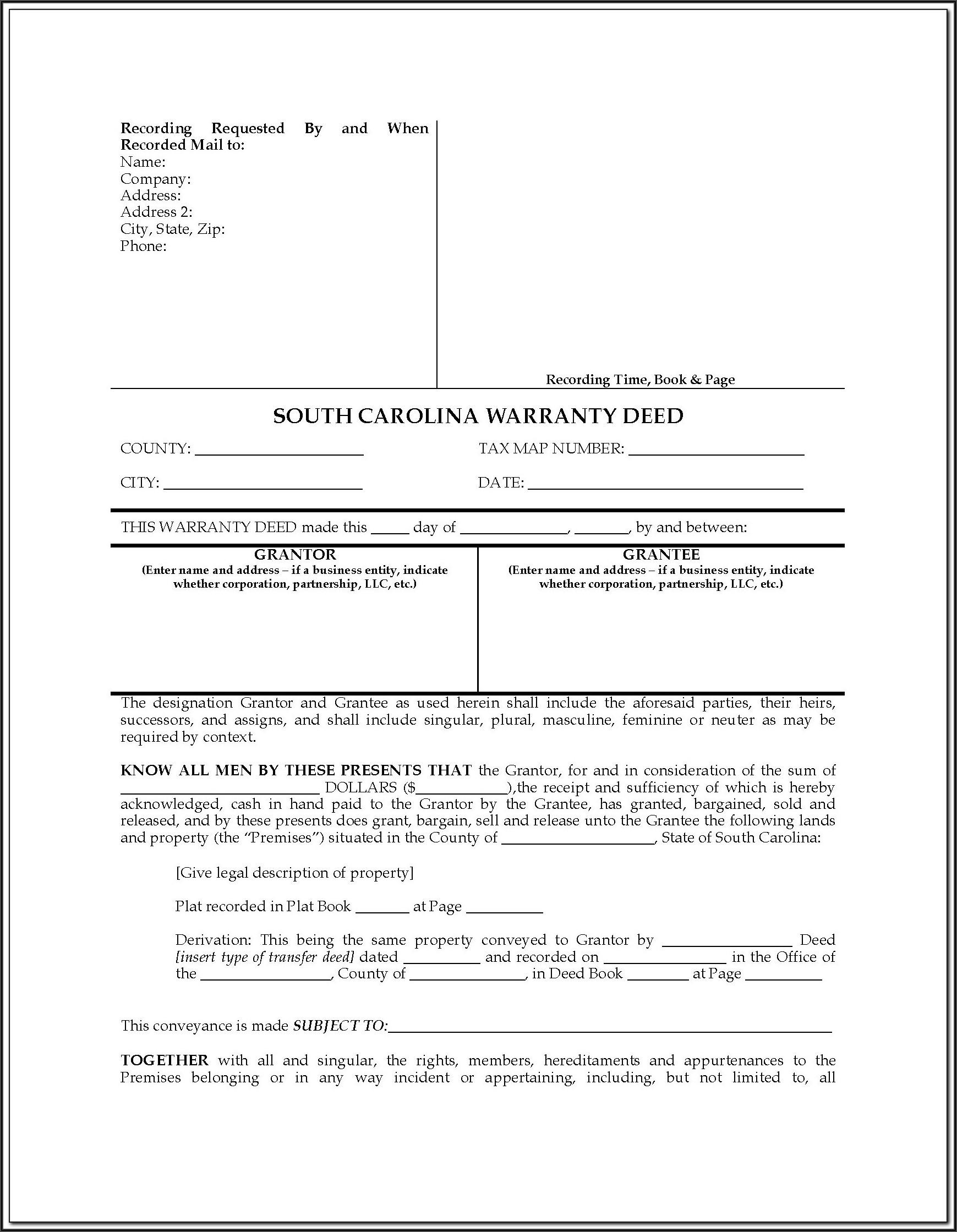 South Carolina Deed Of Distribution Form