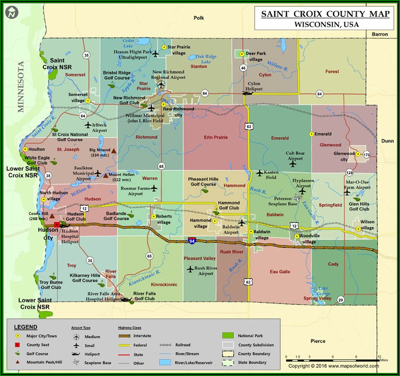 St Croix County Road Map