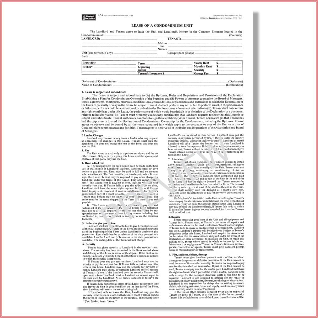 Standard Form Of Condominium Apartment Lease Rebny