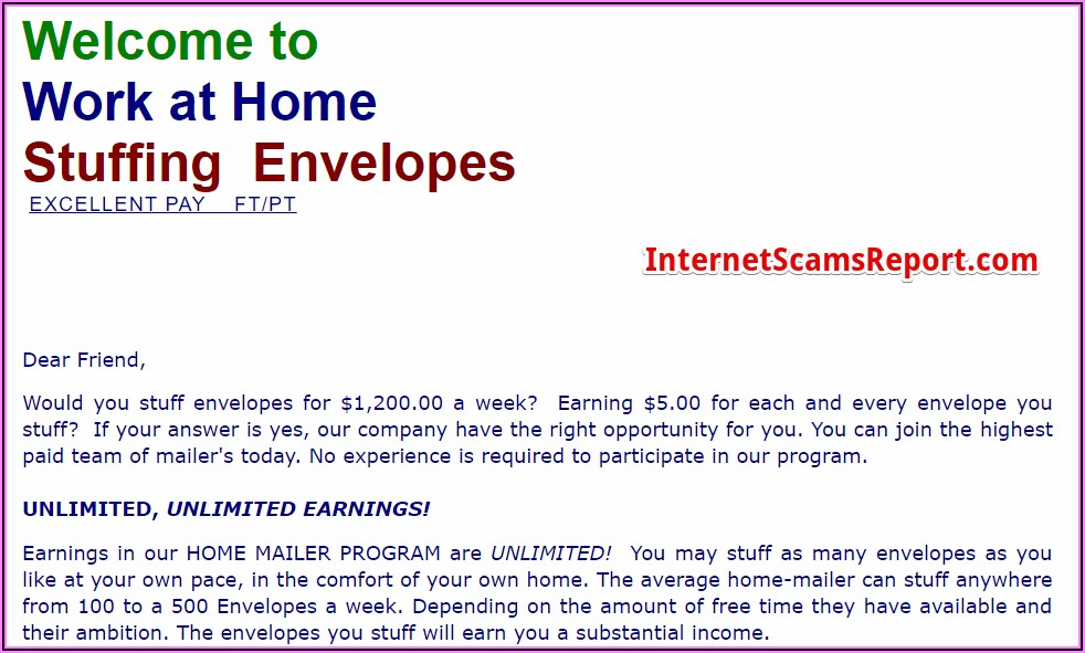 Stuffing Envelopes From Home For Money No Fee