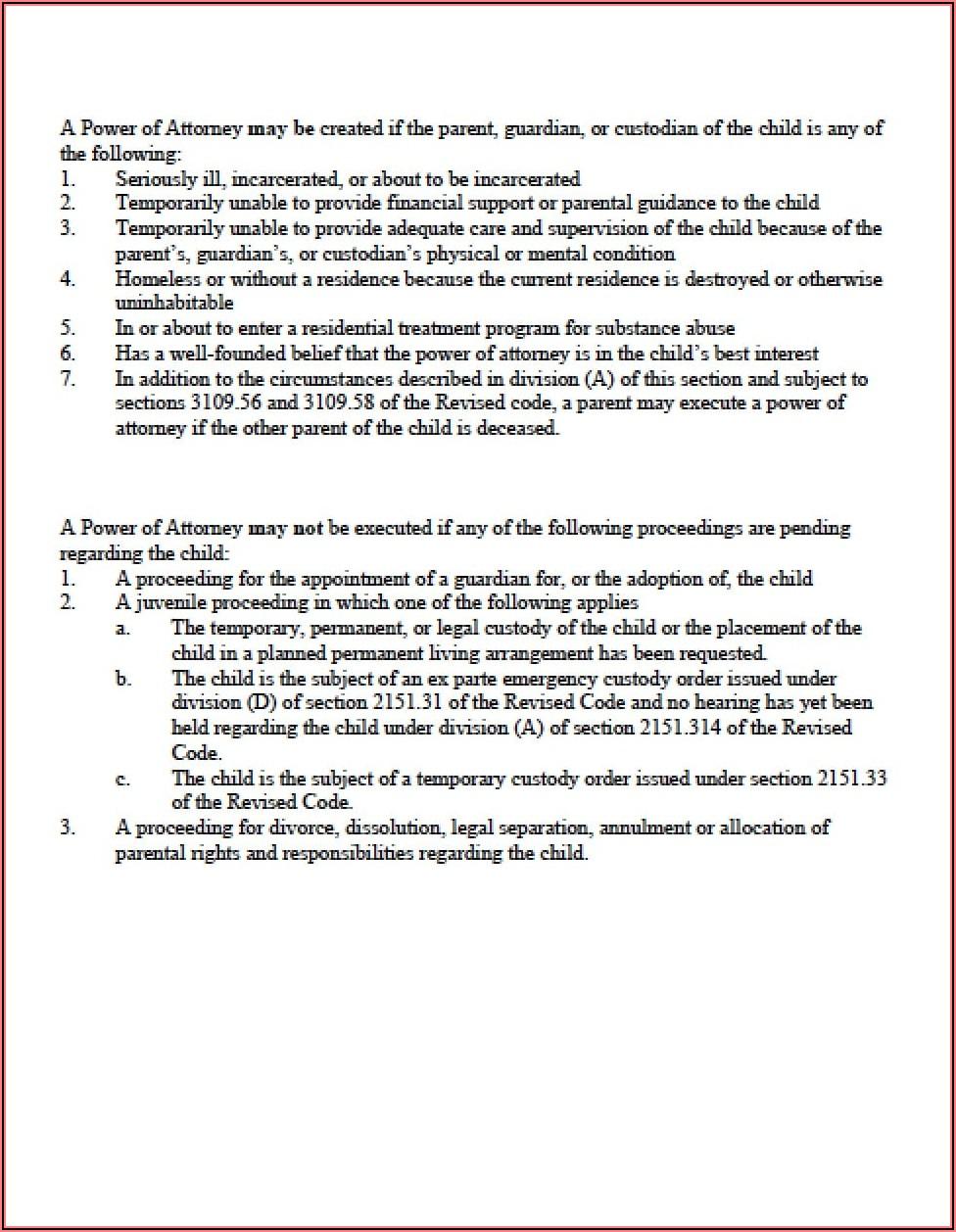 Temporary Custody Agreement Form Ohio