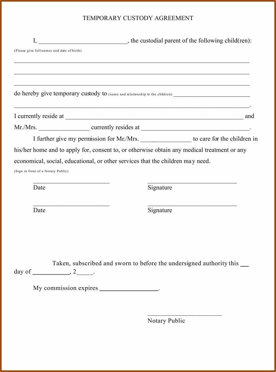 Temporary Custody Form Pdf