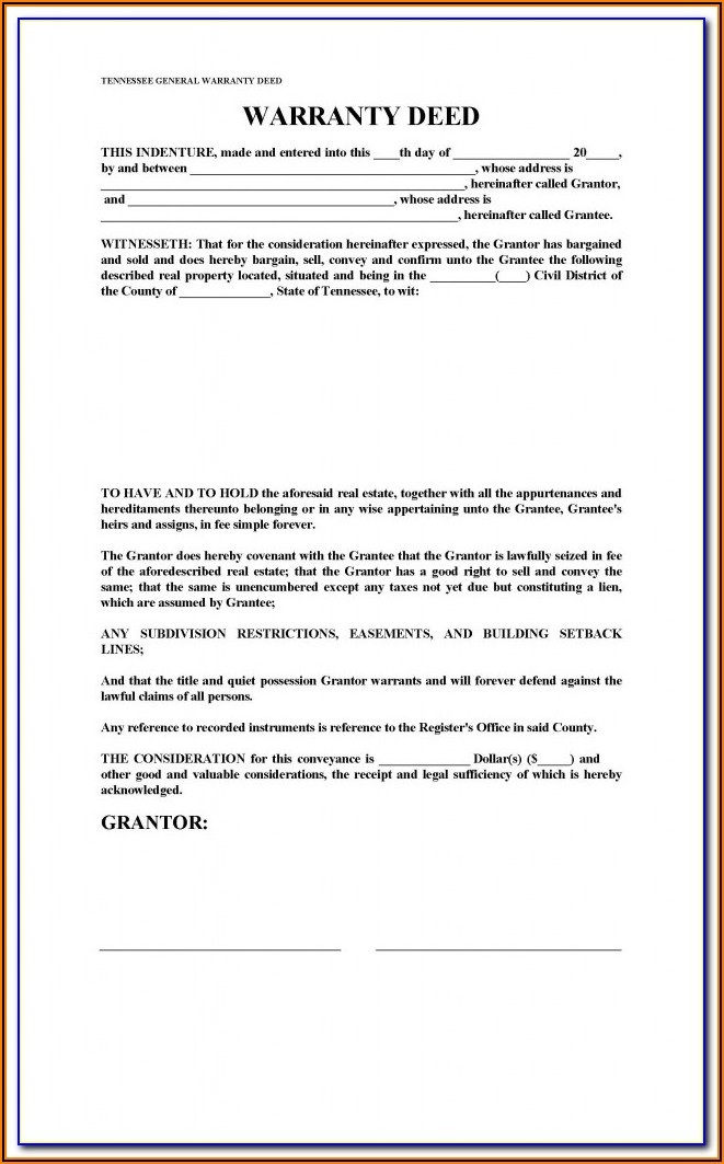 Tennessee Release Of Deed Of Trust Form